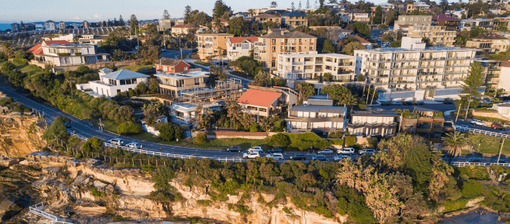 apartments and buildings on a cliff